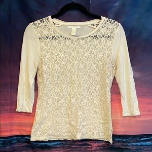 Lace sheer 3/4 sleeve top